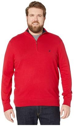 Nautica Big Tall 1/4 Zip Navtech Mock Neck Sweater (Sable Heather) Men's Sweater