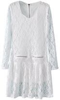 Romwe Lace Hollow Lined White Dress