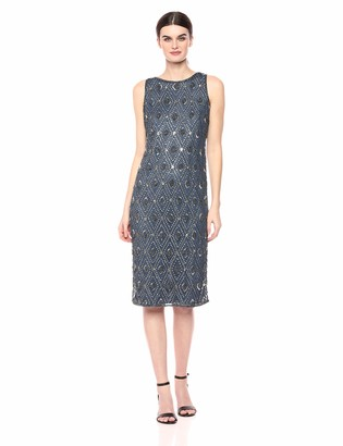 Pisarro Nights Women's Beaded Middy Dress with Diamond Motif