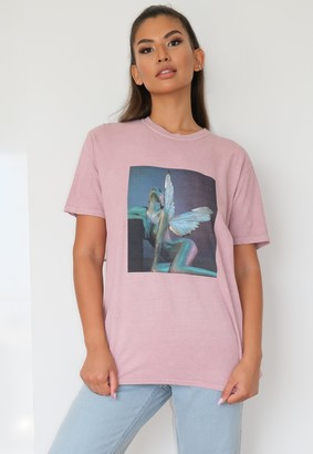 Missguided Rose Washed Graphic Wings T Shirt