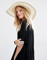 MANGO Cut Out Brim Straw Hat