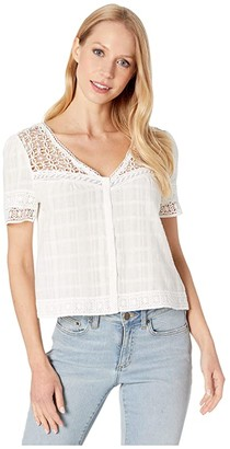 BB Dakota All Over The Lace Cotton Plaid Top with Lace Yoke (Ivory) Women's Clothing