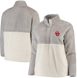 Women's Gray/Cream Oklahoma Sooners Plus Size Fuzzy Fleece Colorblocked Four-Snap Pullover Jacket