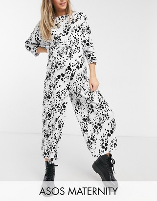 ASOS DESIGN maternity lounge jersey tie waist jumpsuit in white animal print