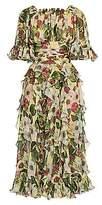 Dolce & Gabbana Women's Chiffon Floral-Print Tiered Ruffle Midi Dress