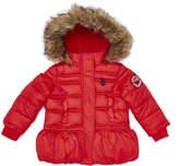 U.S. Polo Assn. Red Peplum Puffer Jacket - Toddler & Girls