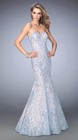 La Femme 22571 Pastel Sequined Lace Mermaid Gown