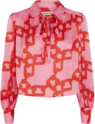 Traffic People Maisie Chain Print Chiffon Blouse In Pink And Red