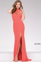 Jovani Jersey Open Back High Neck Prom Dress 48380
