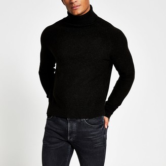 River Island Black roll neck boxy fit boucle knit jumper