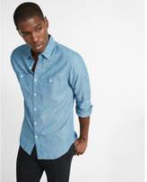 Express Linen-blend Print Button-up Shirt