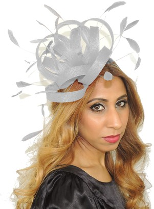 Hats By Cressida Womens Occasion Pretty Fireball Metallic Silver Feathers Ascot Derby Fascinator Hat - with Headband