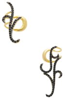 Noir Black CZ Ear Cuffs