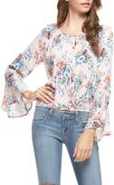 Lush Floral Bell Sleeve Top