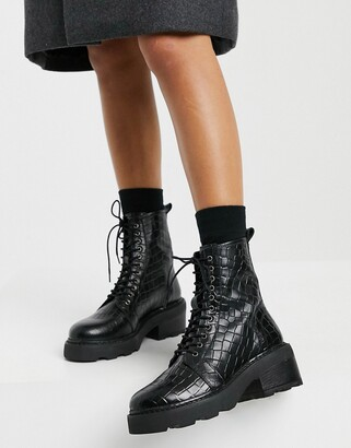 Schuh Arvid lace-up mid-heeled ankle boot in black croc leather