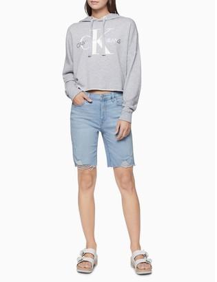 Calvin Klein Light Wash Denim High Rise Bermuda Shorts