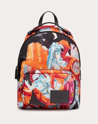 Valentino Garavani Uomo Infinite City Nylon Backpack Man Red Polyester 41%, Polyurethane 16%, Acrylic 2% OneSize