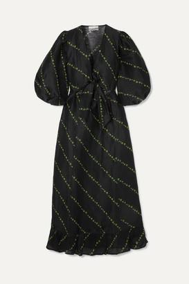 Ganni Floral-print Linen And Silk-blend Midi Dress - Black