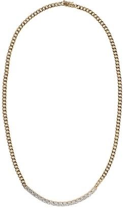 Anita Ko 18kt Rose Gold Plain Cuban Link And Long Diamond Line Necklace