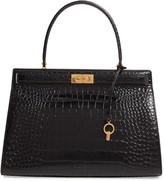 Tory Burch Lee Radziwill Croc Embossed Leather Satchel