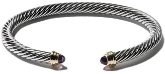 David Yurman Cable Classics sterling silver amethyst & 14kt yellow gold accented cuff bracelet