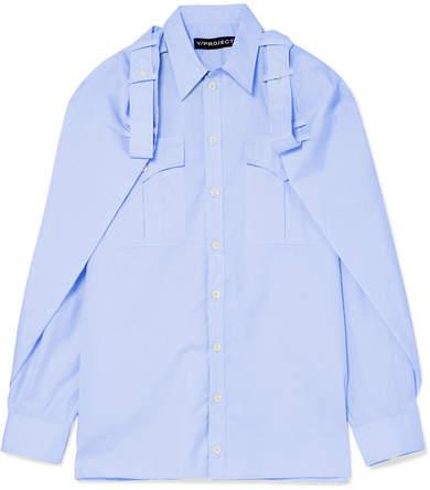 Y/Project Cape-effect Cotton And Linen-blend Shirt - Sky blue