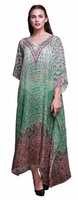 Phagun Floral & Damask Ethnic Ladies Kaftan Holiday Loungewear Maxi Dress Beach Coverup-4X-5X Sea Green