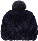 Barneys New York Women's Mink & Fox Fur Knit Beanie-Navy