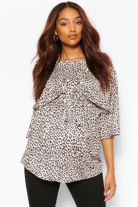 boohoo Maternity Leopard Tie Front Top