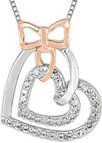 FINE JEWELRY 1/5 CT. T.W. Diamond Sterling Silver and 10K Rose Gold Bow Heart Necklace