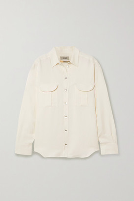 BLAZÉ MILANO Savannah Berber Linen And Silk-blend Twill Shirt - White