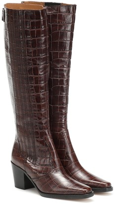 Ganni Western croc-effect knee-high boots