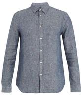120% Lino Point-collar Fil Coupé Linen Shirt