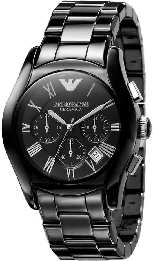 Emporio Armani Watch, Men's Chronograph Black Ceramic Bracelet AR1400