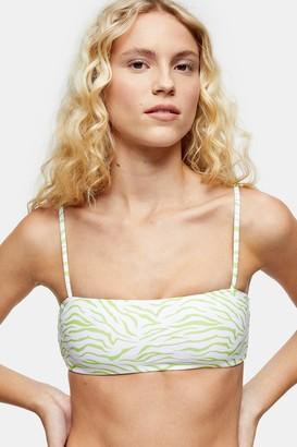MinkPink Womens **Mink Pink Lime Tiger Bikini Bandeau Top - Lime