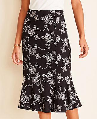 Ann Taylor Floral Embroidered Flounce Skirt