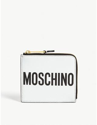 Moschino Logo leather zip wallet