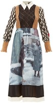Undercover Knit-bodice Graphic-print Wool And Silk Dress - Womens - Black Multi