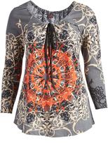 Aller Simplement Gray & Orange Arabesque Tie-Neck Tunic - Plus Too