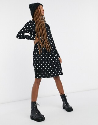 JDY jersey dress in black with white spot