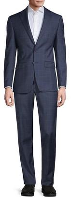 Calvin Klein Slim-Fit Windowpane Wool-Blend Suit