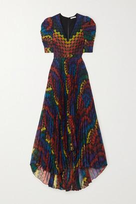 Alice + Olivia Haven Pleated Printed Chiffon Maxi Dress - Blue