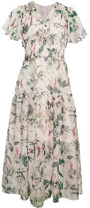 Avantlook Floral Flutter-Sleeve Midi Dress