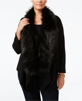 MICHAEL Michael Kors Size Faux-Fur-Collar Drape-Front Sweater Vest