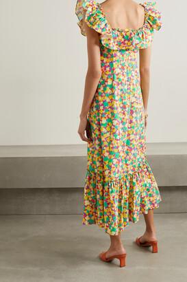Rixo June Ruffled Printed Cotton Midi Dress - Yellow