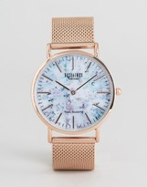 Reclaimed Vintage Marble Print Mesh Watch In Rose Gold