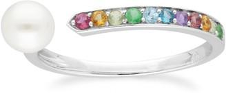 Gemondo Rainbow Gems & Pearl Open Ring in Sterling Silver
