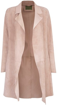 Zut London Long Classic Suede Leather Jacket With Side Pockets Beige