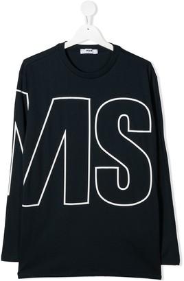 Msgm Kids TEEN oversize logo long-sleeve T-shirt