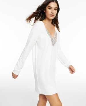 INC International Concepts Culpos x Inc Embellished V-Neck Sweater Dress, Created for Macy's
